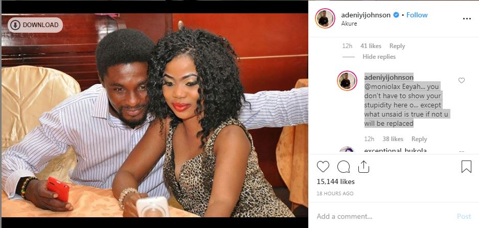 Apparently, Adeniyi wasn't going to be having any of it as he called out the nosy follower for disrespecting him and his relationship. [Instagram/AdeniyiJohnson]