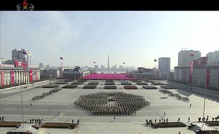 A Koreai Néphadsereg megalakulásának 70. évfordulóján megtartott parádé / Fotó: MTI