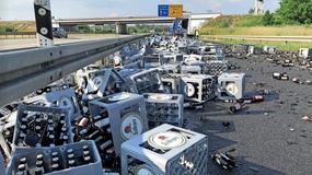 350 skrzynek piwa na niemieckiej autostradzie