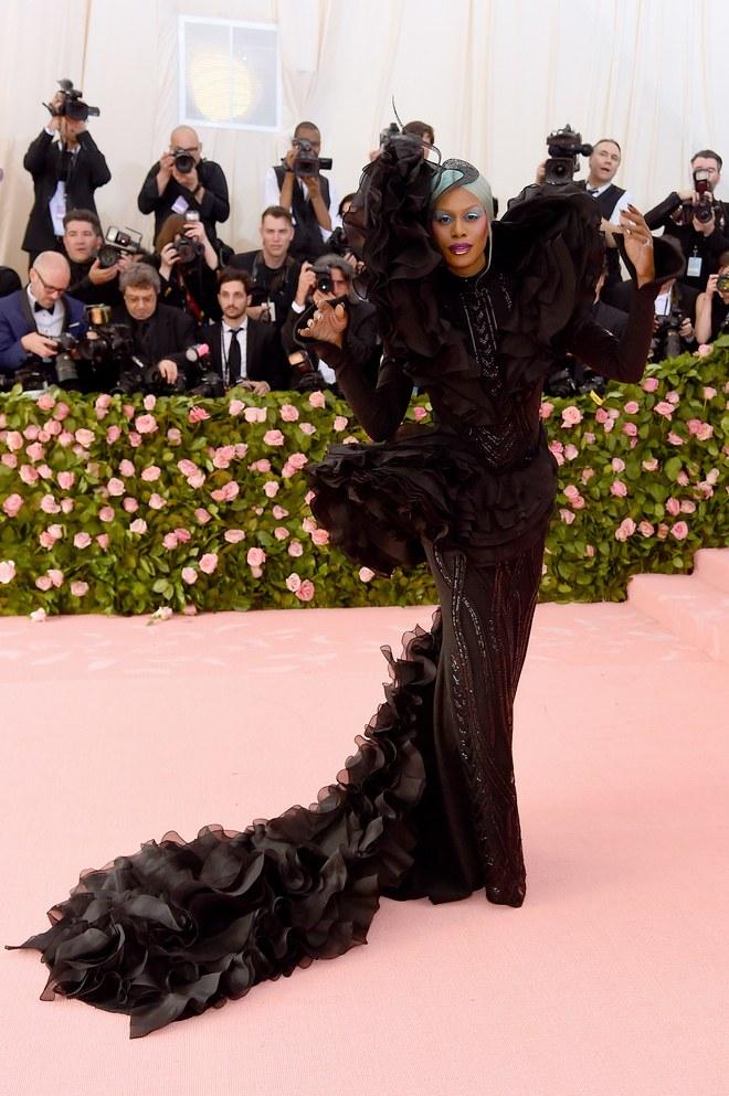 Laverne Cox arrives at the Met Gala 2019 [Credit: Vogue]