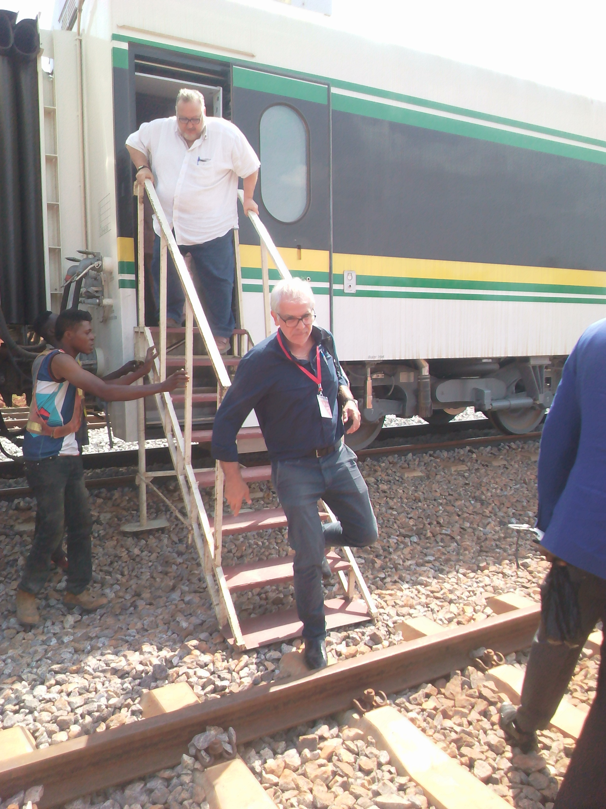 People alighting from train