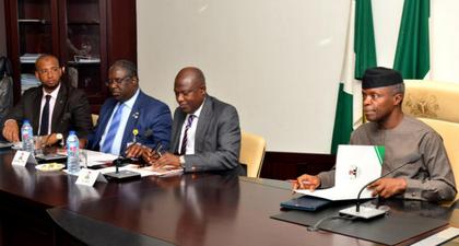 From left: Managing Director, Nigerian Export-Import Bank ( NEXIM), Abubakar Bello; Executive Chairman, Federal Inland Revenue Service, Dr Babatunde Fowler; Managing Director, Bank of Industry, Mr Olukayode Pitan and Vice President Yemi Osinbajo, during First Quarter Meeting of Micro, Small and Medium Enterprises Development ( MSME) stakeholders at the Presidential Villa in Abuja on Monday (6/05/19). [NAN]