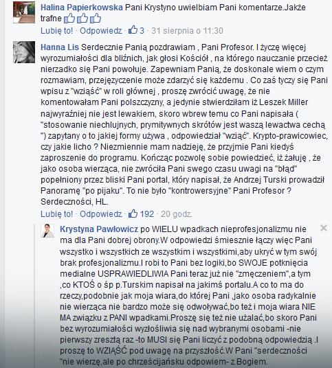 Komentarz Hanny Lis na profilu prof. Pawłowicz