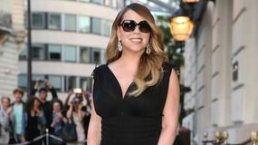 Mariah Carey w czarnej sukience z seksownym rozcięciem