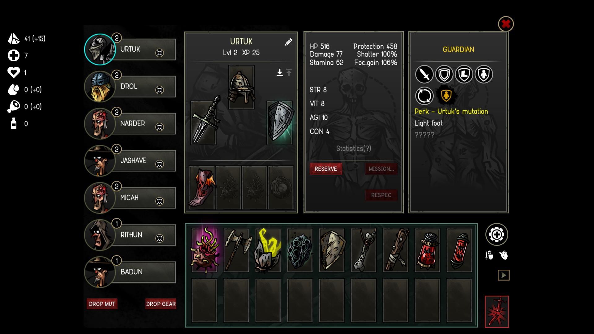 V inventári môžete spravovať mutagény schopností a vybavenie postáv.