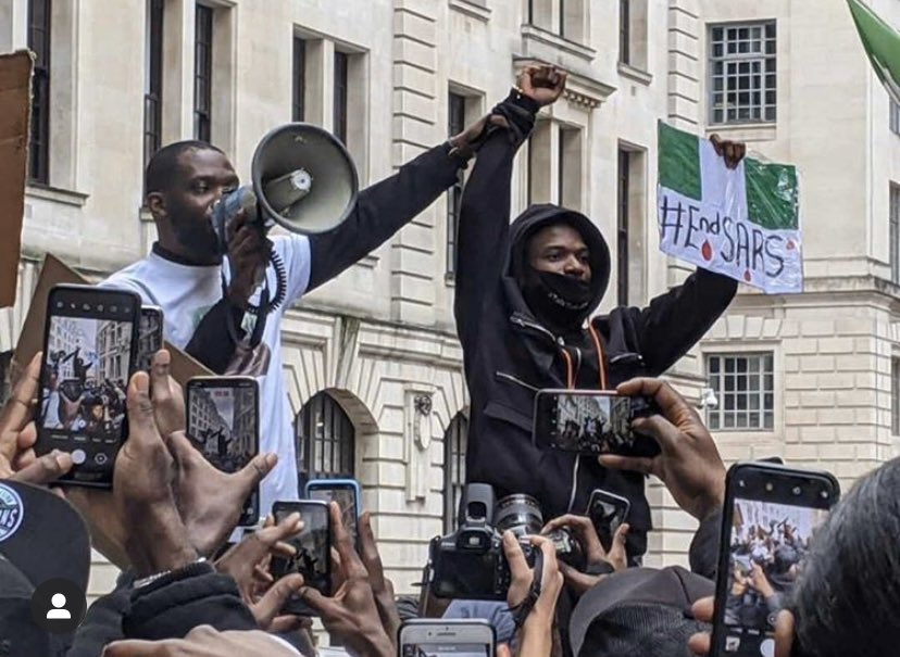 Wizkid joins London protesters [Twitter]