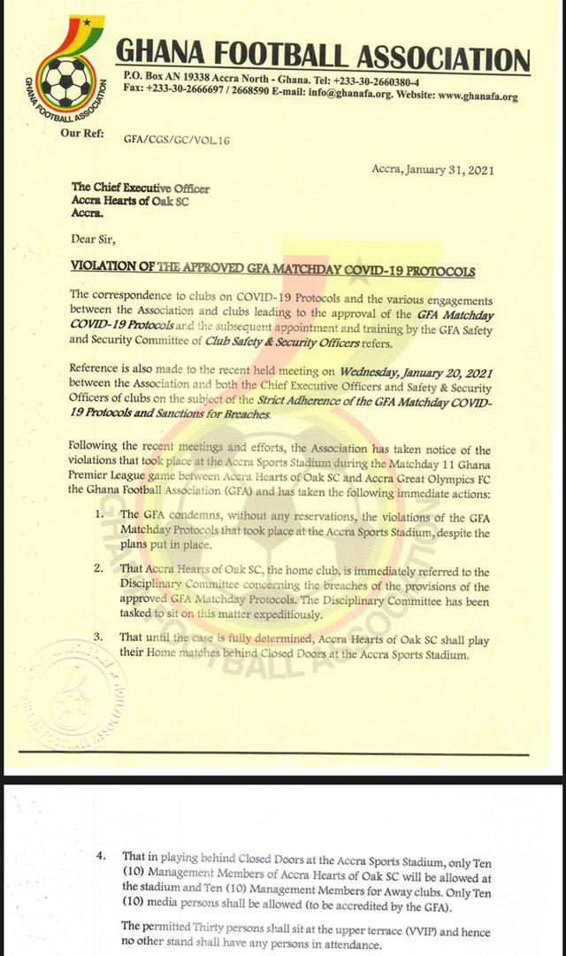 Hearts of Oak to play behind closed doors for breaching COVID-19 safety protocols
