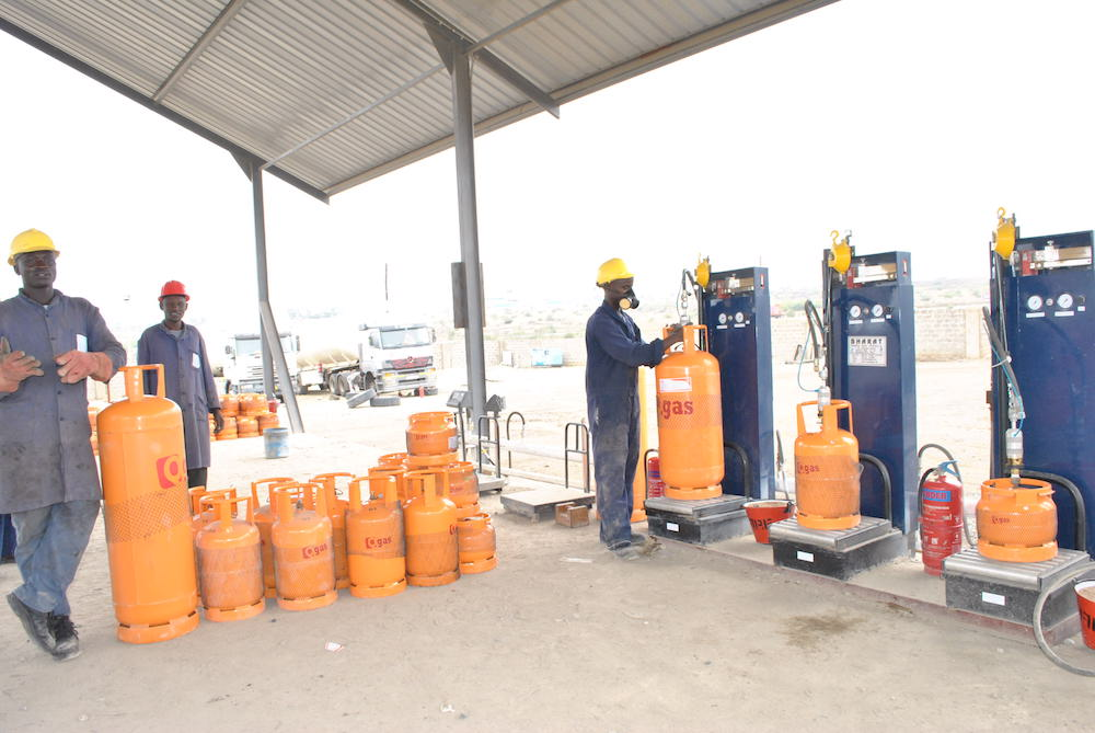 A cooking gas refiling station