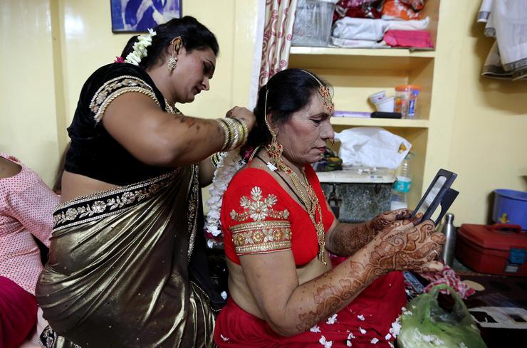 A hidzsrák az Indiában élő transzszexuálisokat és transzneműeket jelenti /Fotó: MTI/EPA -SANJEEV GUPTA