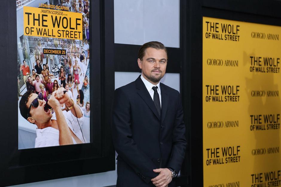 """Leonardo DiCaprio na premierze filmu """"Wilk z Wall Street"""" / Getty Images"""