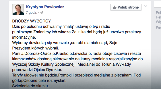 Krystyna Pawłowicz na facebooku, fot. screen z Facebook