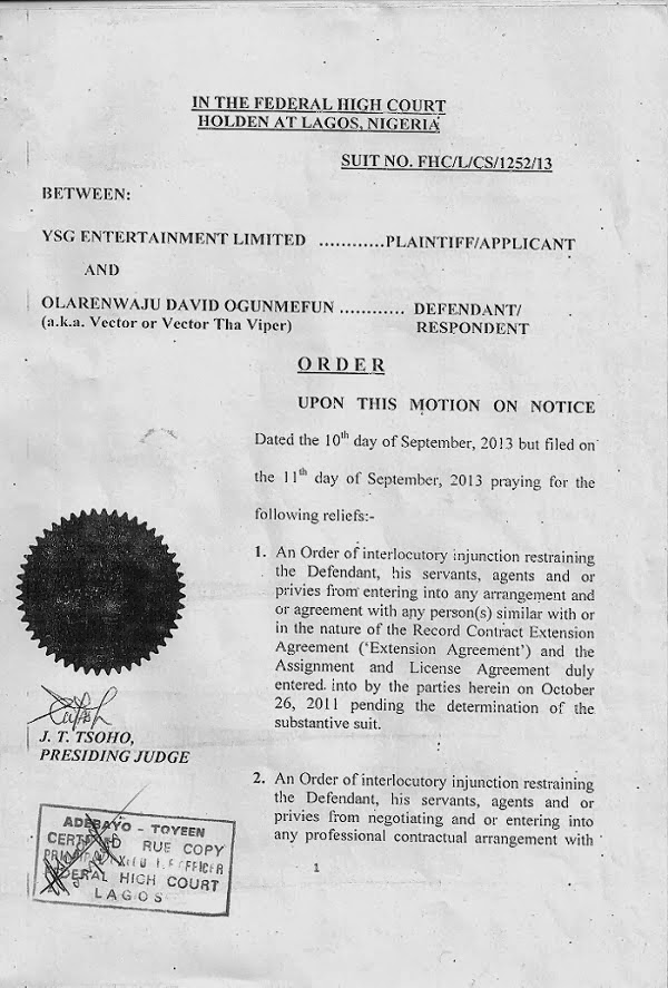 Injunction filed against Vector by YSG Entertainment. (Nigerian Films)