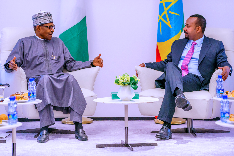 President Muhammadu Buhari and Ethiopian Prime Minister, Abiy Ahmed. [Twitter/GovNigeria]