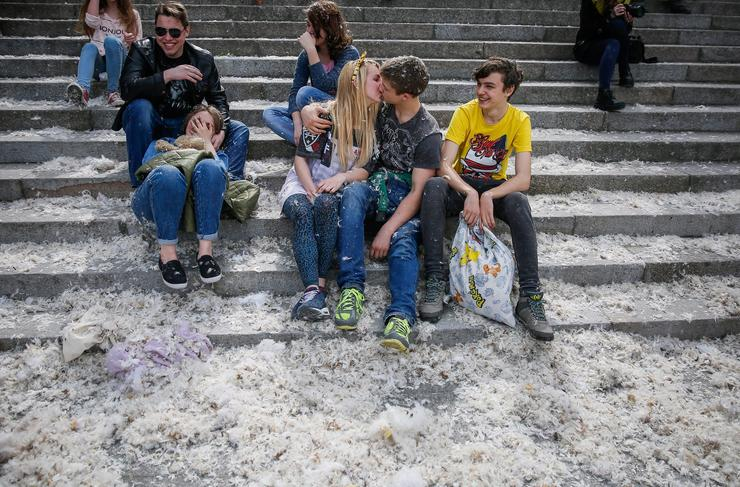 Párnacsata Ukrajnában / Fotó: MTI