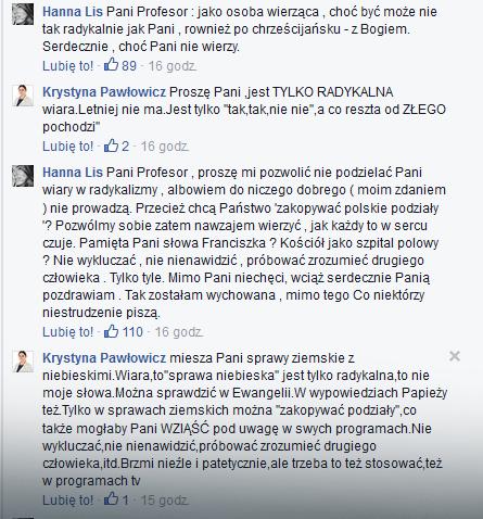 Dyskusja prof. Pawłowicz z Hanną Lis