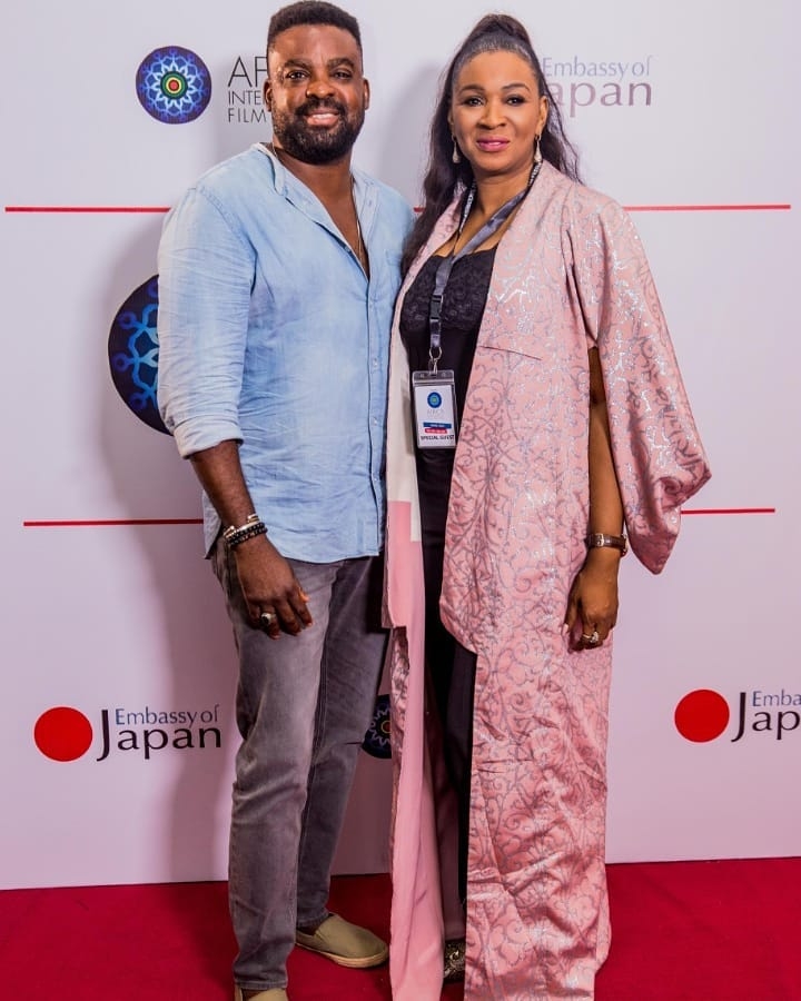 Kunle Afolayan and Chioma Ude at the 2019 AFRIFF [Instagram/ChiomaUde]
