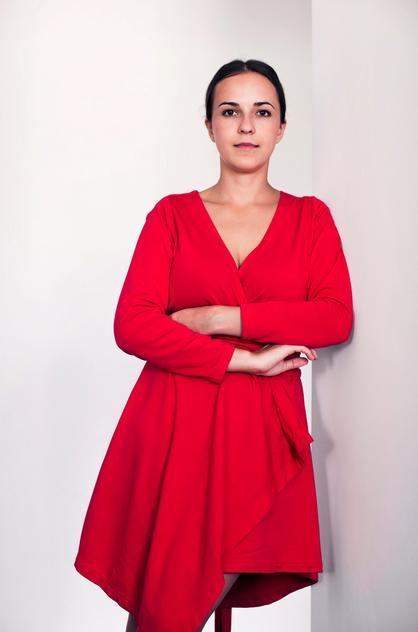 Olka Kaźmierczak w czerwonej sukience