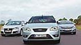 Opel Astra GTC, Ford Focus ST, VW Golf GTI - Który kompakt jest najbardziej GTI?