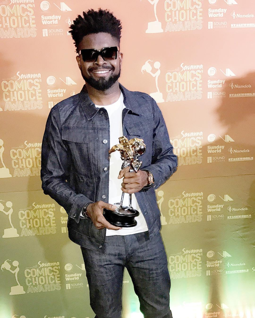 Basketmouth, winner of the Savanna Pan-African Comic Award category at the 2017 Savannah Comic Choice Awards held at the Lyric Theatre in Johannesburg, South Africa.