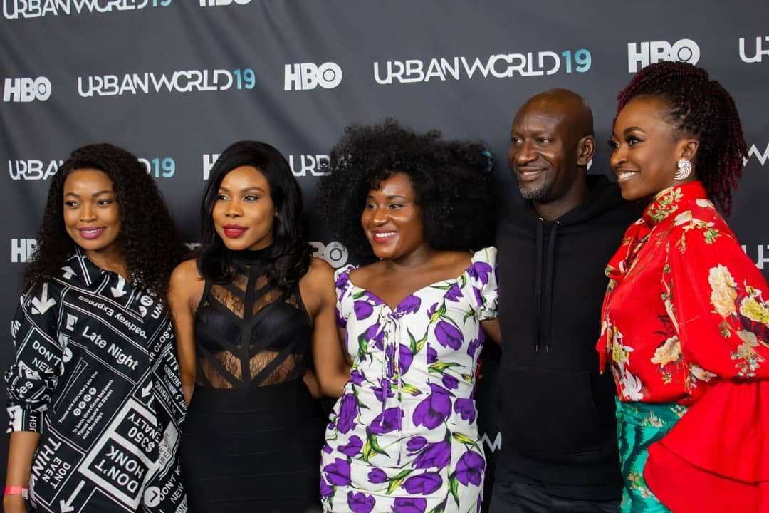 (R-L) Kate Henshaw, Akin Omotosho, Susan Wokoma, Uzor Osimkpa and a member of cast at the premiere of Ego Boyo's new film, 'The Ghost & The House of Truth' in Los Angeles. [Pulse]