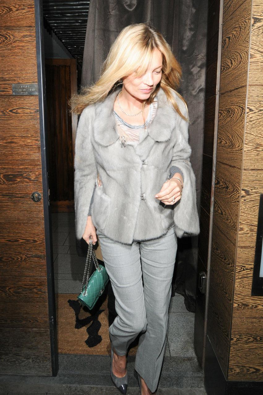 Kate Moss po kolacji w UMU Sushi, Londyn/ fot. Bulls Press