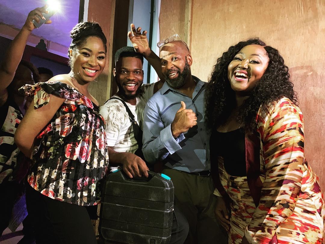 Ijeoma Aniebo, Broda Shaggi, Yemi Solade, andBlessing Obasi on the set of 'Elevator Baby' [Instagram/Niyi Akinmolayan]