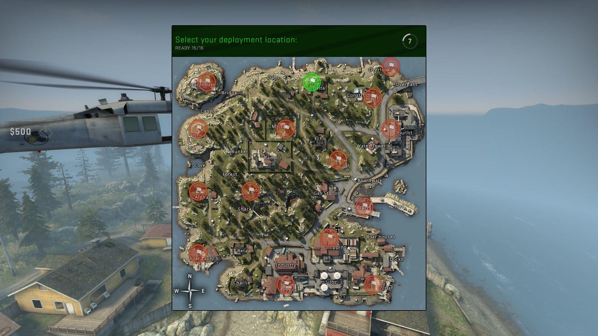 Na začiatku zápasu si zvolíme, kde na mape chceme byť vysadení.