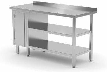 Polgast Stół nierdzewny przyścienny szafka z drzwiami na zawiasach i dwiema półk