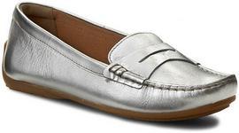 Clarks mokasyny - Doraville Nest 261164504 srebrny Leather skóra naturalna - lico