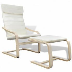 Kremowy regulowany Fotel bujany z podnóżkiem