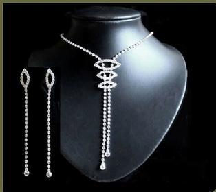 Finezyjny komplet z drobnych kryształków: naszyjnik i kolczyki K4304