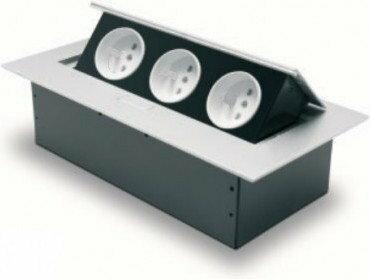 GTV Sp. z o.o. S.K.A Przedłużacz biurkowy 3x230V z uziemieniem aluminium AE-
