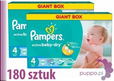 Pampers Active Baby-Dry 4 Maxi 180 szt.