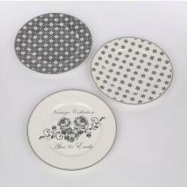 Altom Talerz deserowy porcelana Emily 19 cm, mix 3 wzorów
