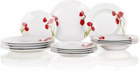 Banquet Red Poppy 18-częściowy zestaw talerzy,