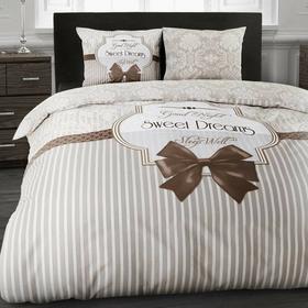 DreamHouse Komplet pościeli SWEET DREAMS brąz bawełna (140 x 200 cm)