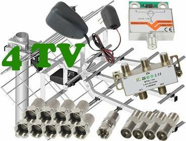 Zestaw antenowy dla 4 TV: 17/21-69 TRI DIGIT MINI + wzmacniacz LNA-177 + zasilac