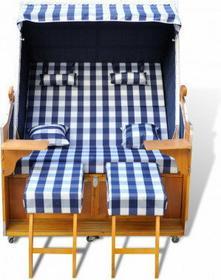 Leżak plażowy, kosz plażowy, niebiesko-biały, dla dwóch osób.