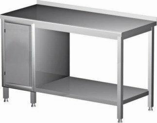 Polgast Stół nierdzewny przyścienny szafka z drzwiami na zawiasach i półką 1700x