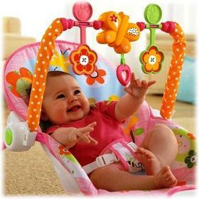 Baby Smile LEŻACZEK BUJACZEK 3w1 Z WIBRACJAMI 0-18kg RÓŻOWY