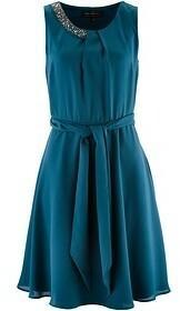Bonprix Sukienka z ozdobnymi kamieniami 936541_57253 niebieskozielony morski