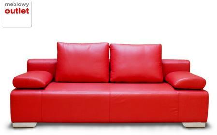 Korfu Sofa rozkładana skórzana czerwień