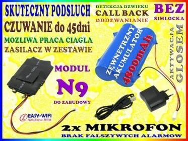 PODSŁUCH GSM N9 DO ZABUDOWY DETEKCJA DŹWIĘKU VOX CALL BACK WYSOKA CZUŁOŚĆ do 45dni CZUWANIA + BATERIA 4800mAh Easy_ID:1MR0493