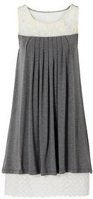 Bonprix Sukienka z koronką granatowyowo-biel wełny 925719