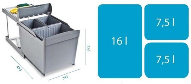 Alveus Sortownik ALBIO 30 (1x16L + 2x7,5l) 1090337