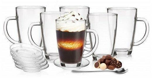 Glasmark Szklanki Kris do latte łyżeczki i spodki