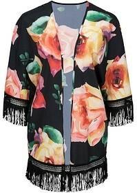 Bonprix Kimono z frędzlami 961612_49507 czarny z nadrukiem