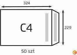 NC Koperta C4 biała samoklejąca (op. 50 szt.) SK (B-KOP-C4 biała /50)