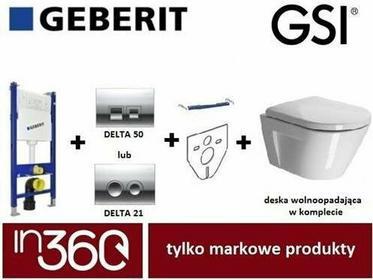 Geberit GSI Norm Zestaw Stelaż podtynkowy z miską Wc wiszącą i deską wolnoopadającą UP100 (861211 +MS8611CN +111.153.00.1 +111.813.00.1 +115.135.21.1) in.000Z177