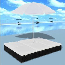 Luksusowe łóżko rattanowe, czarne, leżak dwuosobowy z parasolem